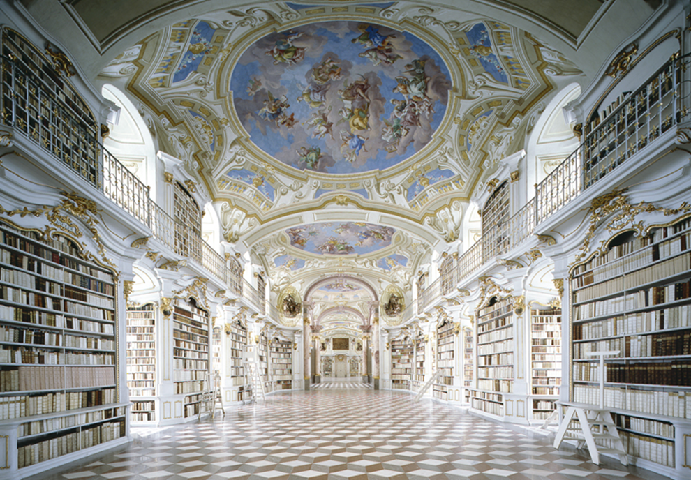 fotografía Candida Höfer Biblioteca del Castillo de Admont, Austria