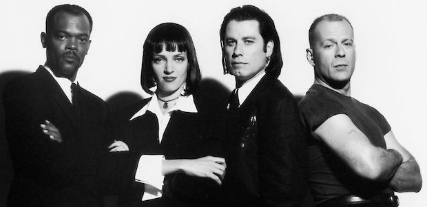 Samuel L. Jackson, Uma Thurman, John Travolta, and Bruce Willis as they appear in PULP FICTION, 1994.