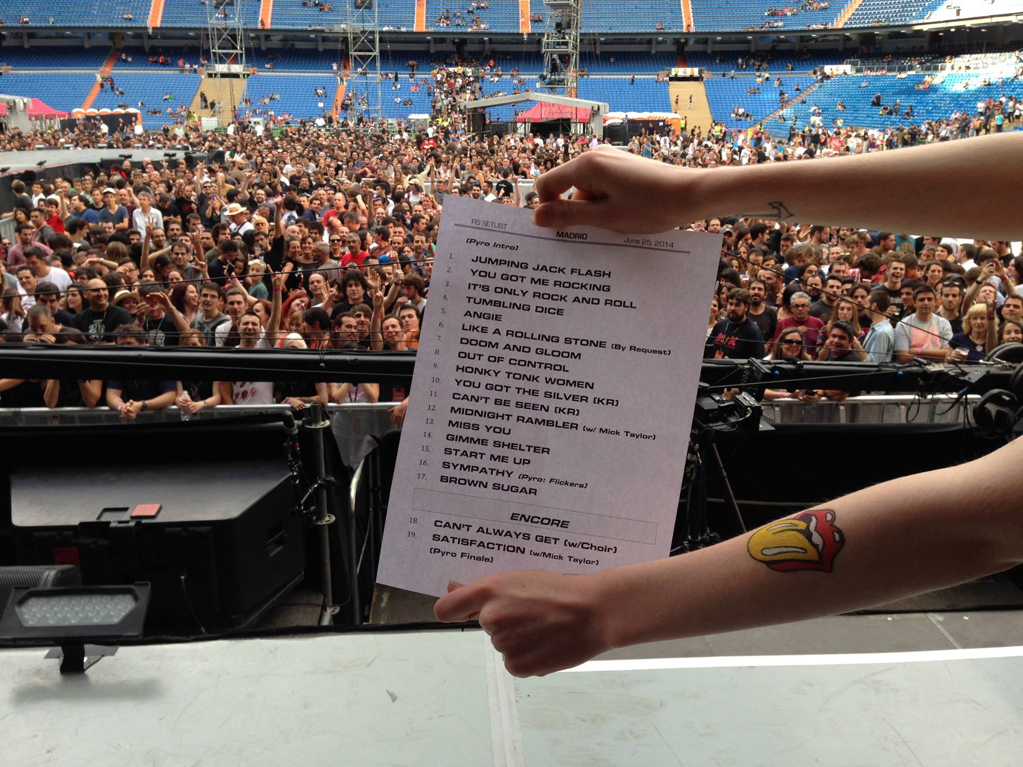 Crónica - The Rolling Stones, Santiago Bernabeu, Madrid. Setlist