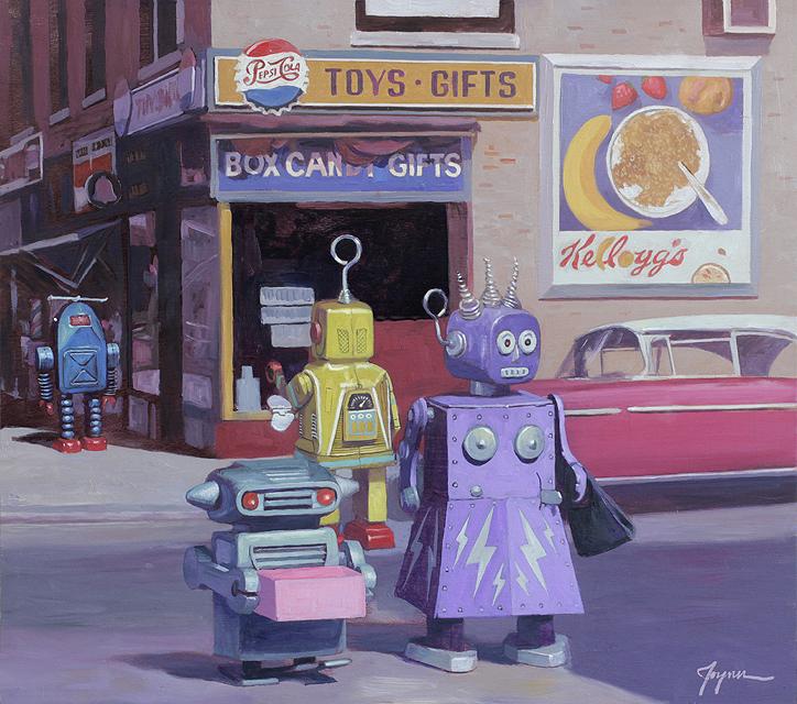 Ilustración Eric Joyner, robots y donuts 10