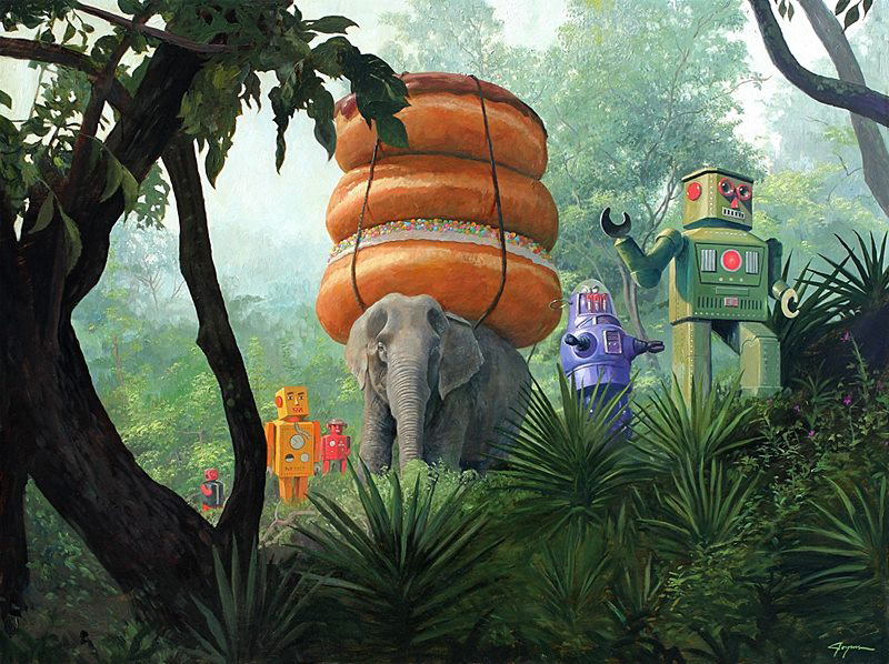 Ilustración Eric Joyner, robots y donuts 1