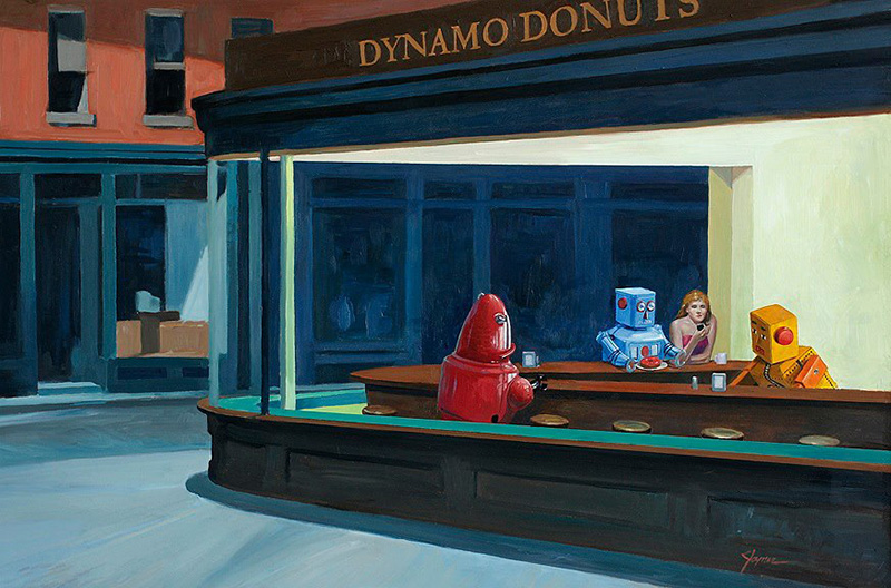 Ilustración Eric Joyner, robots y donuts 2